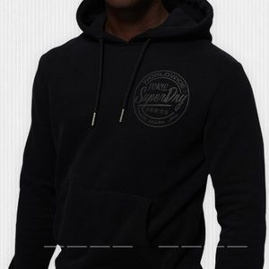Superdry Black Mono Logo Cotton blend Sweatshirt Hoodie XXL
